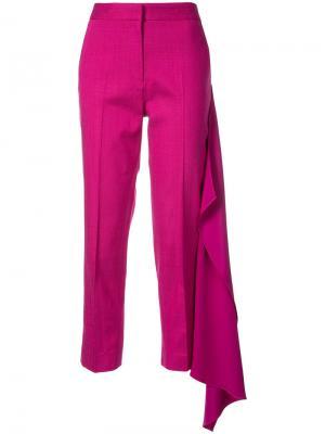 Укороченные брюки с драпировкой Hellessy. Цвет: розовый и фиолетовый