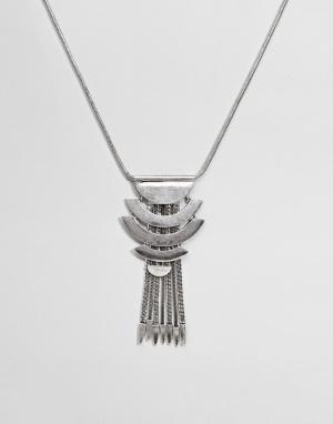 ASOS Броское ожерелье с кисточками DESIGN. Цвет: серебряный