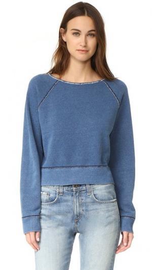 Пуловер цвета индиго с необработанными краями Rag & Bone/JEAN. Цвет: голубой