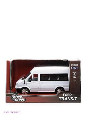 Форд Транзит 1:32, инерц., пластиковая машинка AUTODRIVE. Цвет: белый