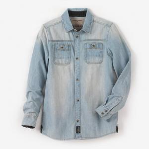 Рубашка джинсовая с длинными рукавами на 10-16 лет R teens. Цвет: синий потертый