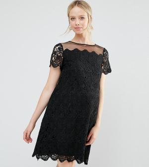 ASOS Maternity Цельнокройное платье для беременных из кружева. Цвет: черный