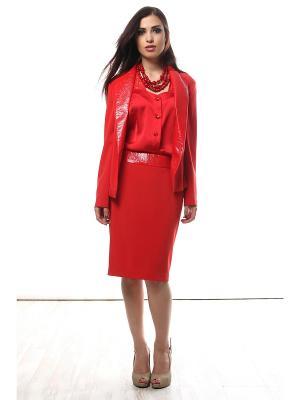 Костюм Красный Мак - жакет, юбка, блузка SEANNA. Цвет: красный