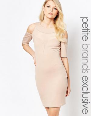 John Zack Petite Облегающее платье с глубоким декольте и открытыми плечами Pe. Цвет: бежевый