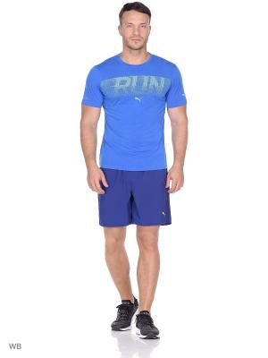 Футболка Run S/S Tee PUMA. Цвет: голубой