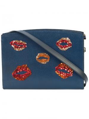 Сумка на плечо с деталями в форме губ Lizzie Fortunato Jewels. Цвет: синий