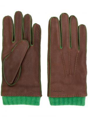 Перчатки с отделкой в рубчик Paul Smith. Цвет: коричневый
