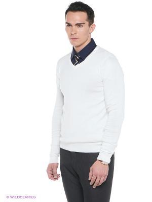 Пуловер Oodji. Цвет: бежевый, белый