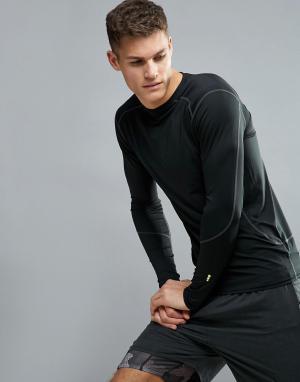 New Look Черный эластичный лонгслив SPORT. Цвет: черный