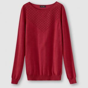 Пуловер с круглым вырезом и вышивкой R édition. Цвет: бордовый,зеленый