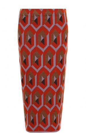 Вязаная юбка-миди с металлизированной нитью Dries Van Noten. Цвет: лиловый