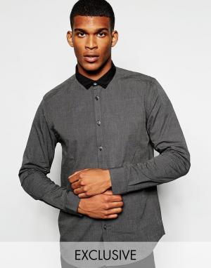 Wincer & Plant Строгая рубашка слим с маленьким контрастным воротником. Цвет: серый