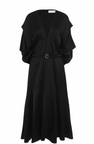 Шелковое платье с поясом и V-образным вырезом Victoria Beckham. Цвет: черный