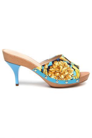 Сабо Versace. Цвет: голубой, принт