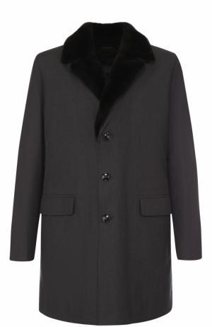 Однобортное пальто с меховой отделкой воротника Kiton. Цвет: темно-серый