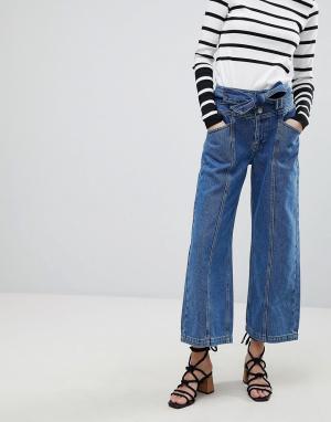 River Island Широкие укороченные джинсы с ремнем. Цвет: синий