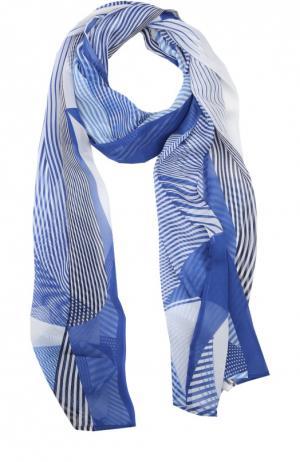 Шелковый шарф с принтом Stizzoli. Цвет: синий