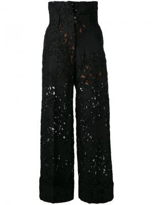 Кружевные брюки Petar Petrov. Цвет: чёрный