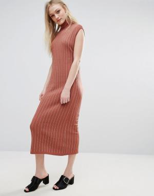 ADPT Трикотажное платье макси с отворачивающимся воротником Fiesta. Цвет: медный