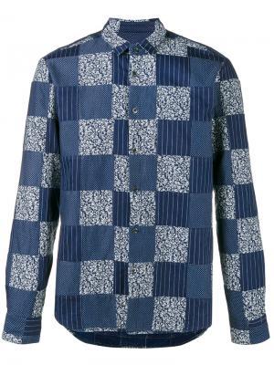 Лоскутная рубашка Sophnet.. Цвет: синий