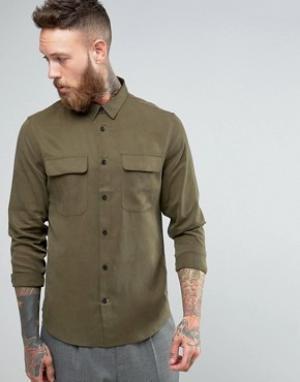 Hoxton Shirt Company Узкая рубашка в строгом стиле из купро. Цвет: зеленый