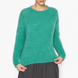 Пуловер с V-образным вырезом, трикотаж джерси из мохера POMANDERE. Цвет: зеленый
