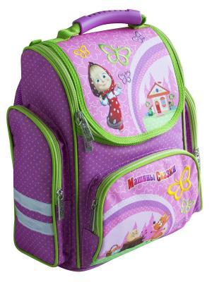 Рюкзак ортопедический средний Маша и Медведь Сказка. Цвет: зеленый, розовый