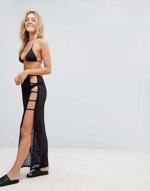New Look Ажурная пляжная юбка. Цвет: черный