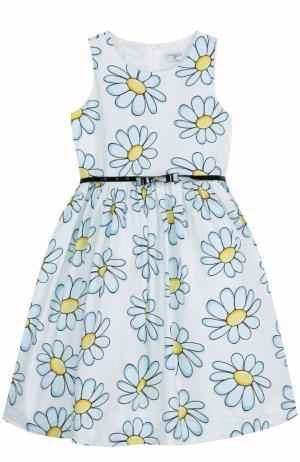 Платье с пышной юбкой и принтом Monnalisa. Цвет: голубой