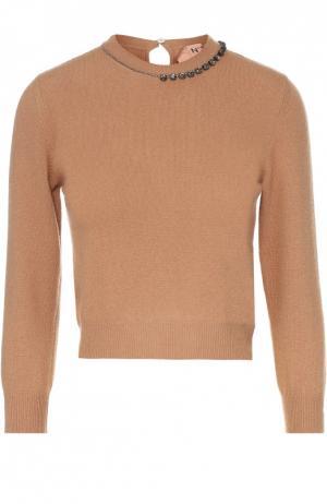 Укороченный шерстяной пуловер с декоративной отделкой No. 21. Цвет: бежевый