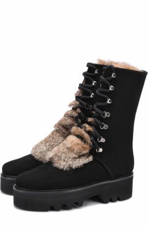 Замшевые ботинки Ouf с отделкой из меха кролика Walter Steiger. Цвет: черный