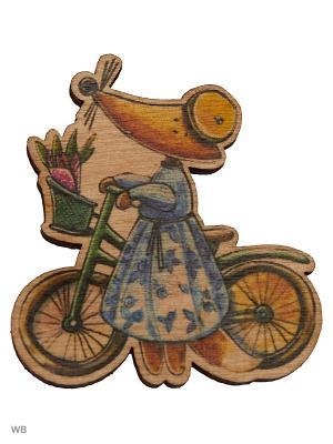 Лиса на велосипеде (деревянный значок в упаковке) Эксмо. Цвет: коричневый