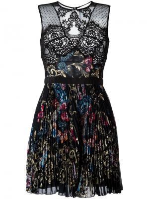 Плиссированное платье с орнаментом Zuhair Murad. Цвет: чёрный