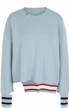 Пуловер асимметричного кроя из смеси шерсти и кашемира MRZ. Цвет: голубой