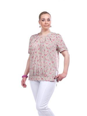 Блузка OLSI. Цвет: зеленый, бежевый, розовый