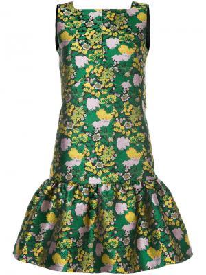 Парчовое платье с цветочным узором Erdem. Цвет: зелёный