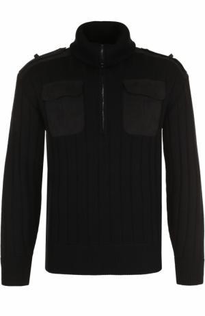Шерстяной свитер фактурной вязки с воротником на молнии Neil Barrett. Цвет: черный