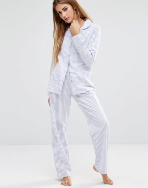 Boux Avenue Подарочный пижамный комплект в полоску. Цвет: синий