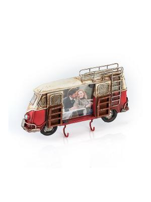 Фоторамка-ключница Автобус красный  6х7см PLATINUM quality. Цвет: красный