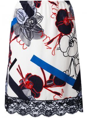 Юбка с кружевной отделкой и цветочным принтом Paul & Joe. Цвет: белый