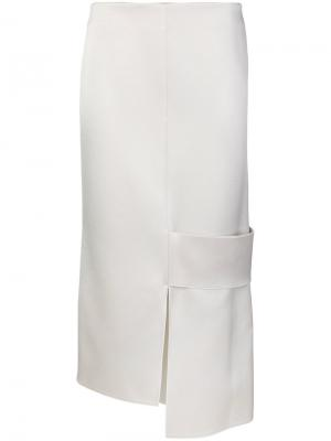 Сатиновая юбка с асимметричным подолом Victoria Beckham. Цвет: белый