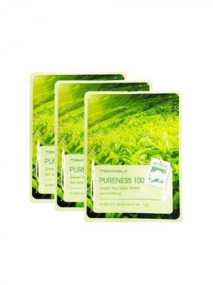 Набор тканеневых масок с экстрактом зеленого чая PURENESS,3* 21мл Tony Moly. Цвет: белый