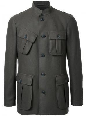 Пиджак на пуговицах с воротником-стойкой Wooster + Lardini. Цвет: зелёный