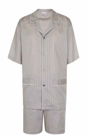 Хлопковая пижама с шортами Zimmerli. Цвет: бежевый