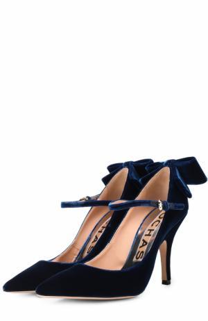 Бархатные туфли с бантом Rochas. Цвет: синий