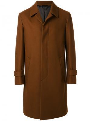 Пальто с потайной застежкой на пуговицах Hevo. Цвет: коричневый