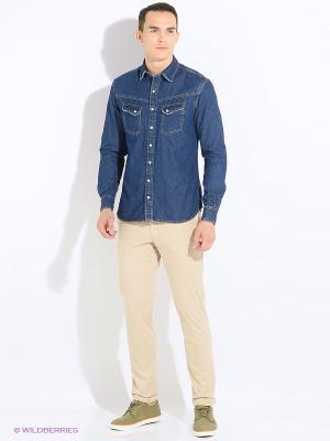 Рубашка MANGO MAN. Цвет: темно-синий