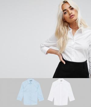 ASOS Petite 2 рубашки из эластичного хлопка с рукавами 3/4. Цвет: мульти