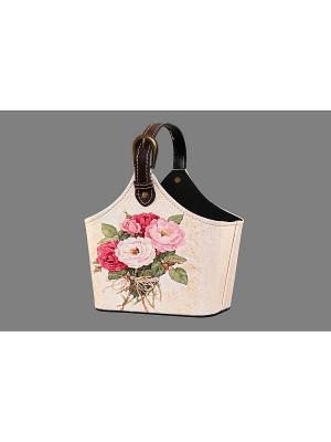 Сумочка интерьерная для хранения Букет роз EL CASA. Цвет: бежевый, красный, розовый, зеленый