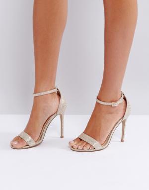 Lipsy Туфли на каблуке с золотистым змеиным принтом Barely re. Цвет: золотой